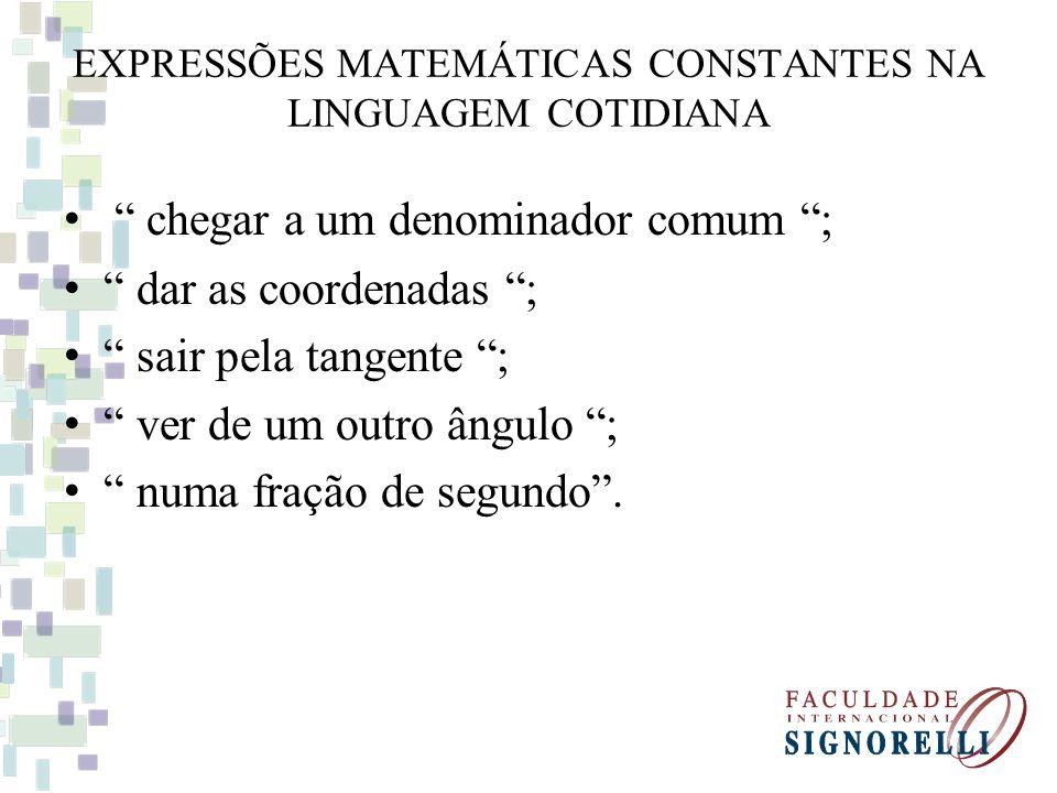 EXPRESSÕES MATEMÁTICAS CONSTANTES NA LINGUAGEM COTIDIANA