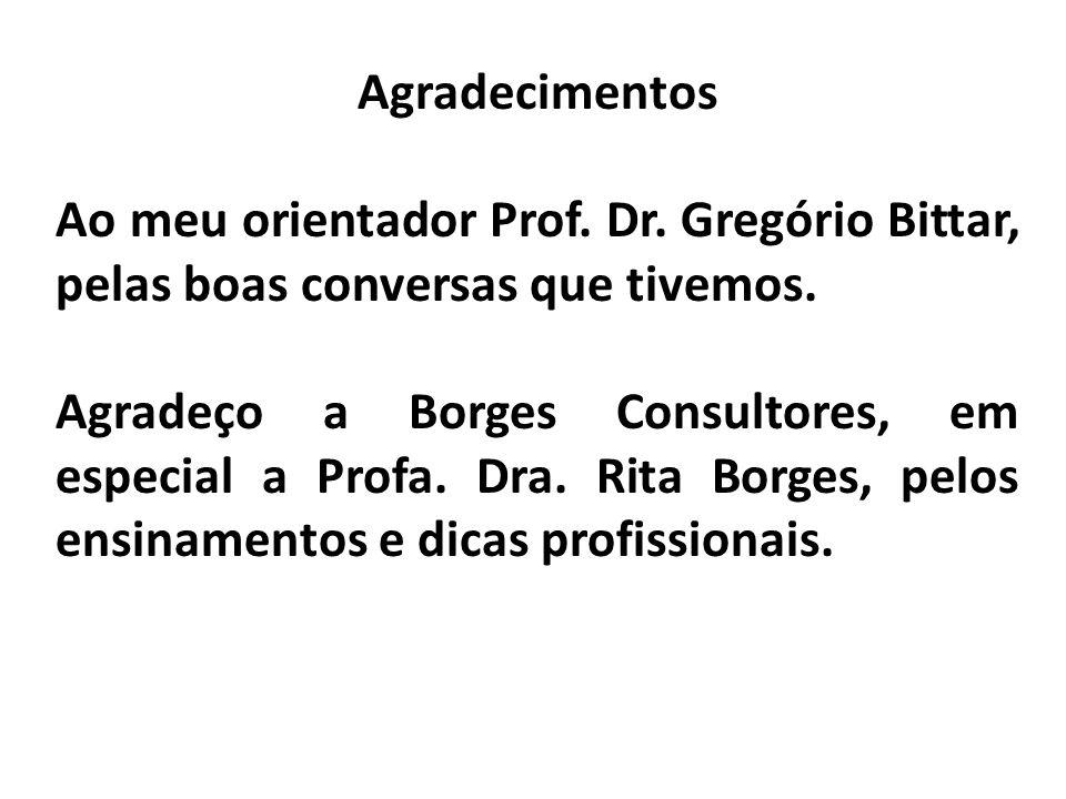Agradecimentos Ao meu orientador Prof. Dr. Gregório Bittar, pelas boas conversas que tivemos.