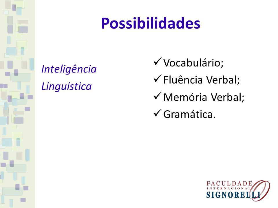 Possibilidades Inteligência Vocabulário; Linguística Fluência Verbal;