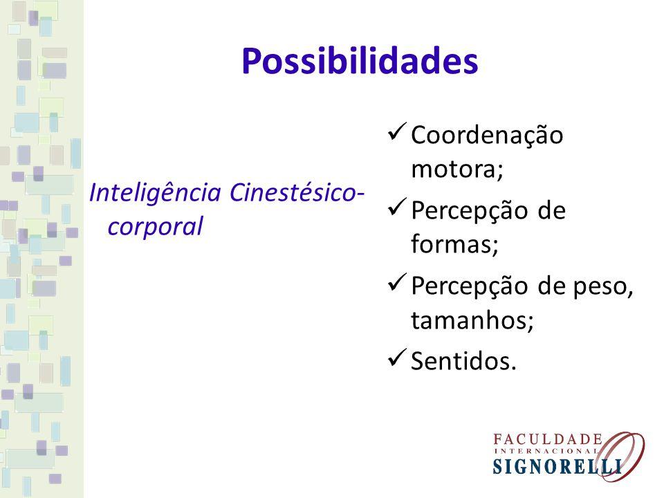 Possibilidades Coordenação motora; Percepção de formas;