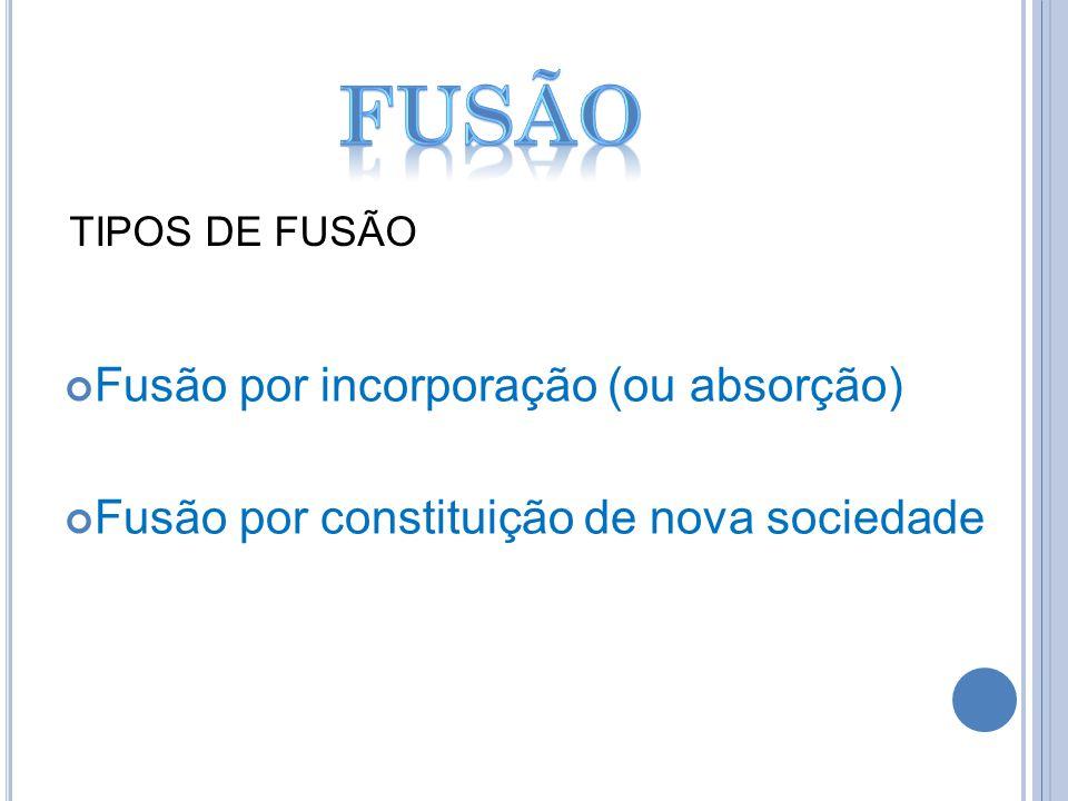 fusão Fusão por incorporação (ou absorção)