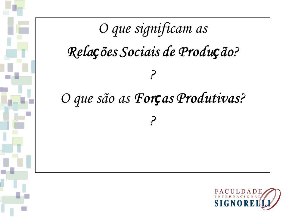 Relações Sociais de Produção O que são as Forças Produtivas