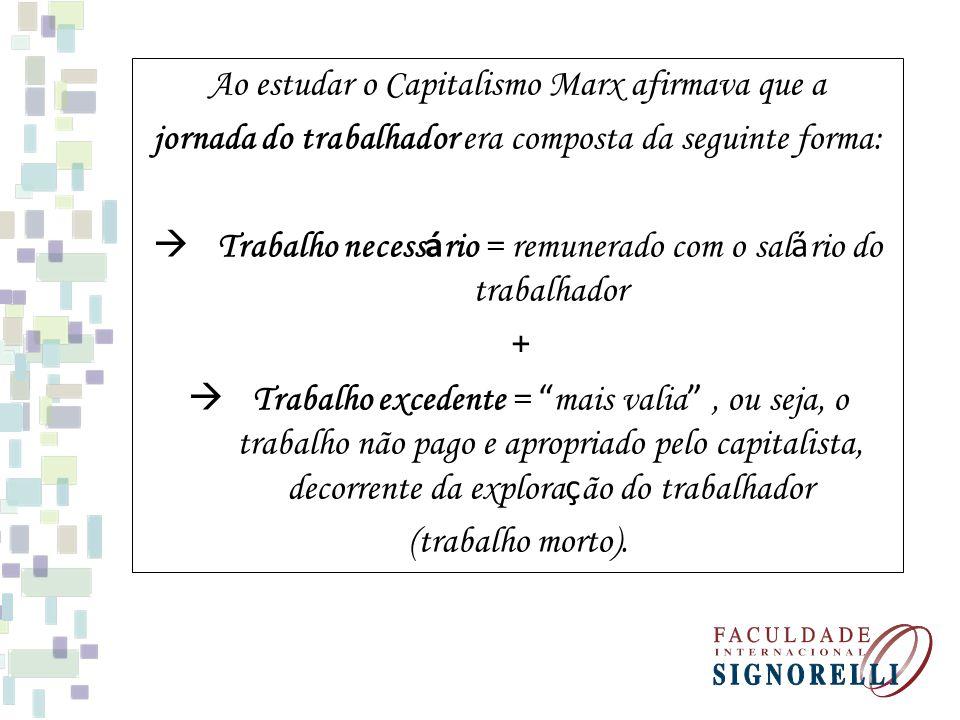 Ao estudar o Capitalismo Marx afirmava que a