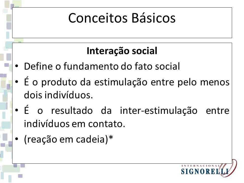 Conceitos Básicos Interação social Define o fundamento do fato social