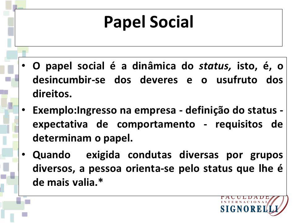 Papel Social O papel social é a dinâmica do status, isto, é, o desincumbir-se dos deveres e o usufruto dos direitos.