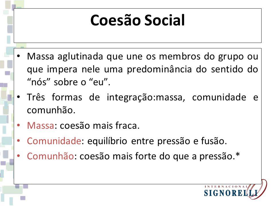 Coesão Social Massa aglutinada que une os membros do grupo ou que impera nele uma predominância do sentido do nós sobre o eu .