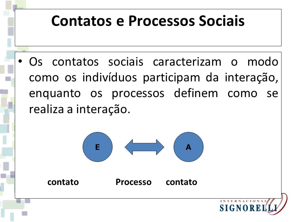 Contatos e Processos Sociais