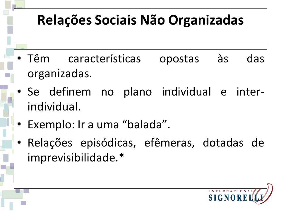 Relações Sociais Não Organizadas