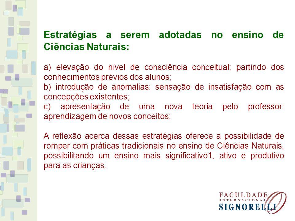 Estratégias a serem adotadas no ensino de Ciências Naturais: