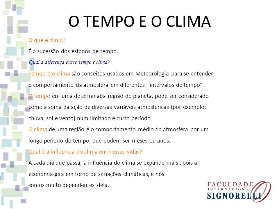 O TEMPO E O CLIMA O que é clima É a sucessão dos estados de tempo.