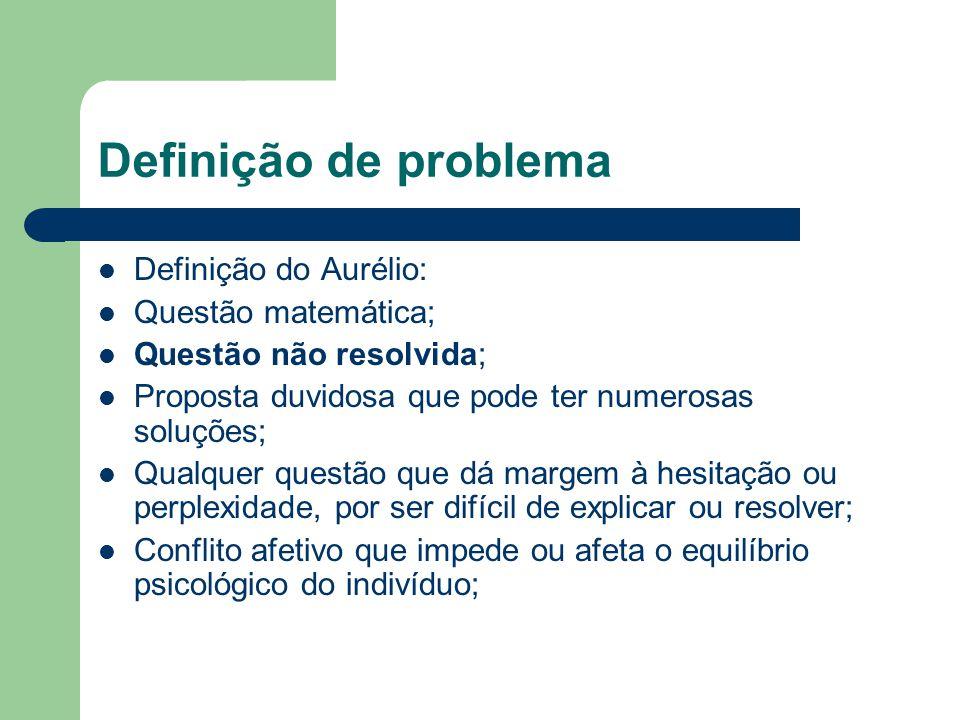 Definição de problema Definição do Aurélio: Questão matemática;