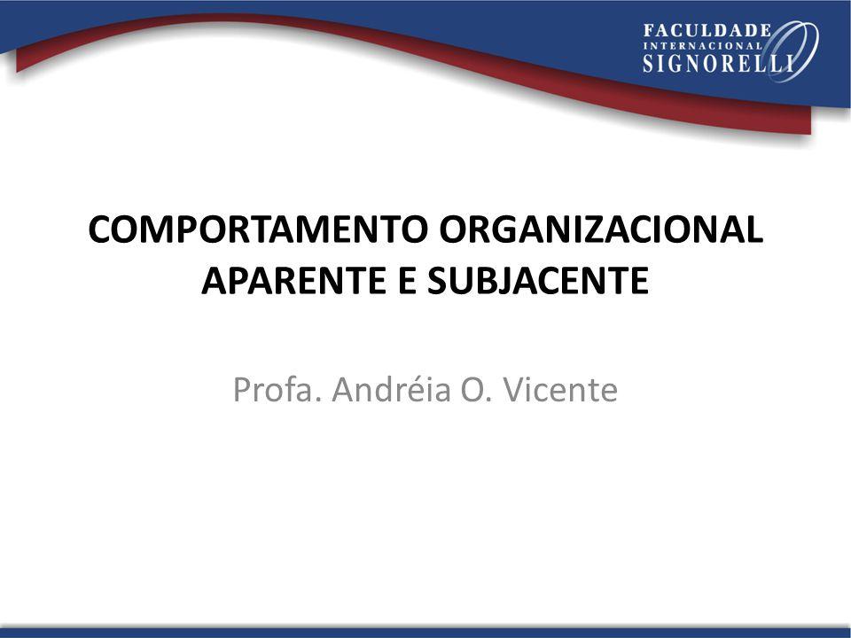 COMPORTAMENTO ORGANIZACIONAL APARENTE E SUBJACENTE