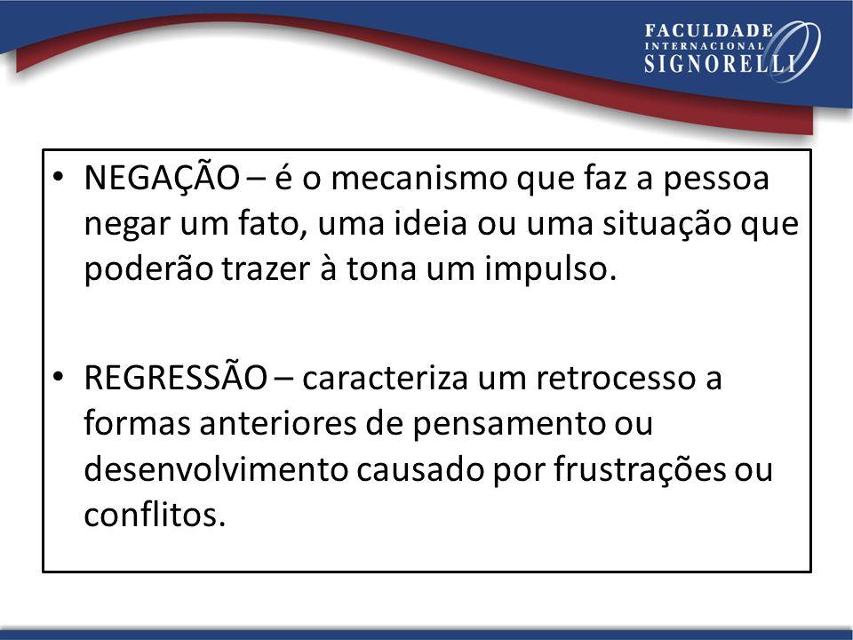 NEGAÇÃO – é o mecanismo que faz a pessoa negar um fato, uma ideia ou uma situação que poderão trazer à tona um impulso.