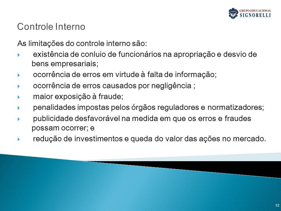 Controle Interno As limitações do controle interno são: