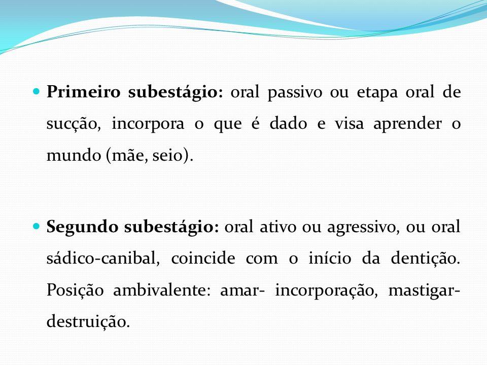 Primeiro subestágio: oral passivo ou etapa oral de sucção, incorpora o que é dado e visa aprender o mundo (mãe, seio).