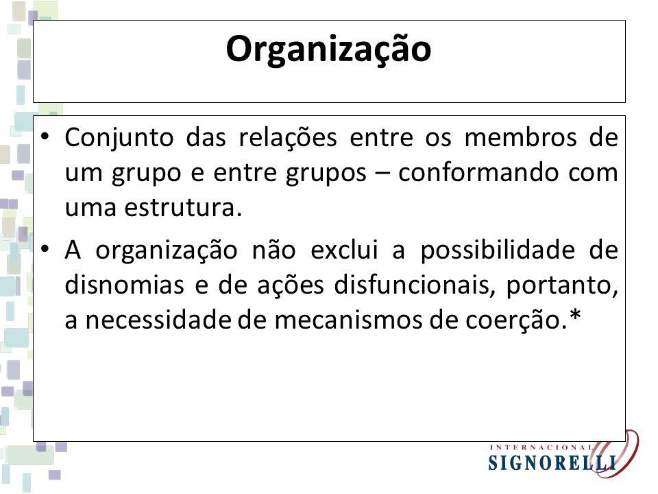 Organização Conjunto das relações entre os membros de um grupo e entre grupos – conformando com uma estrutura.