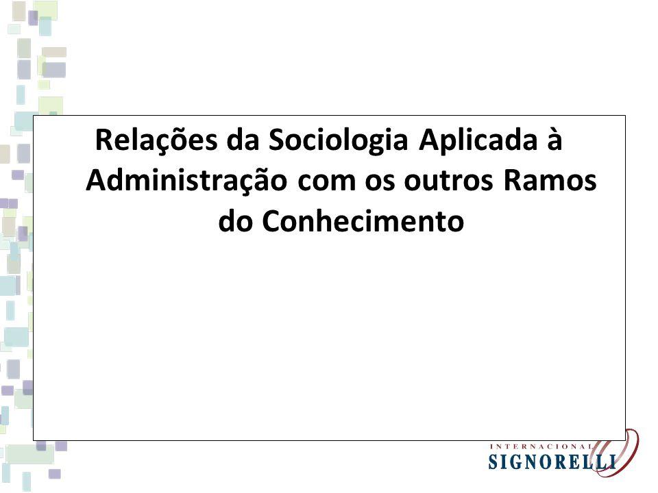 Relações da Sociologia Aplicada à Administração com os outros Ramos do Conhecimento
