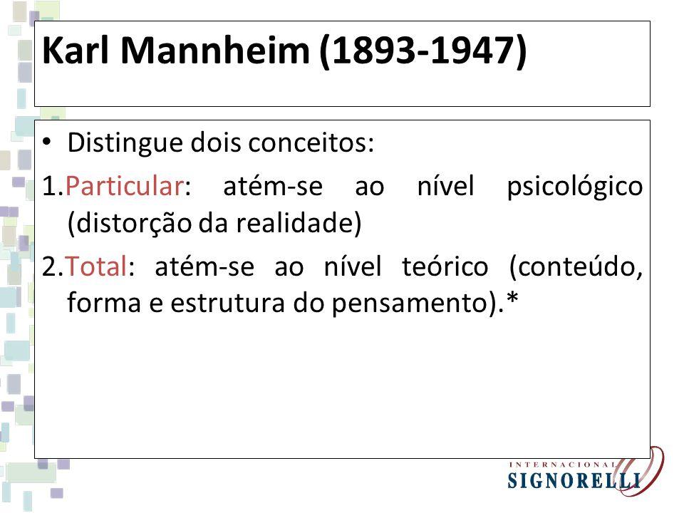 Karl Mannheim (1893-1947) Distingue dois conceitos: