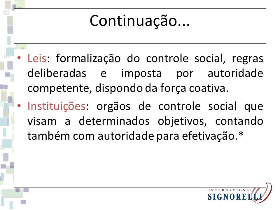 Continuação... Leis: formalização do controle social, regras deliberadas e imposta por autoridade competente, dispondo da força coativa.