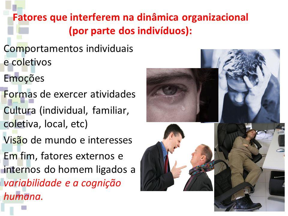 Fatores que interferem na dinâmica organizacional (por parte dos indivíduos):