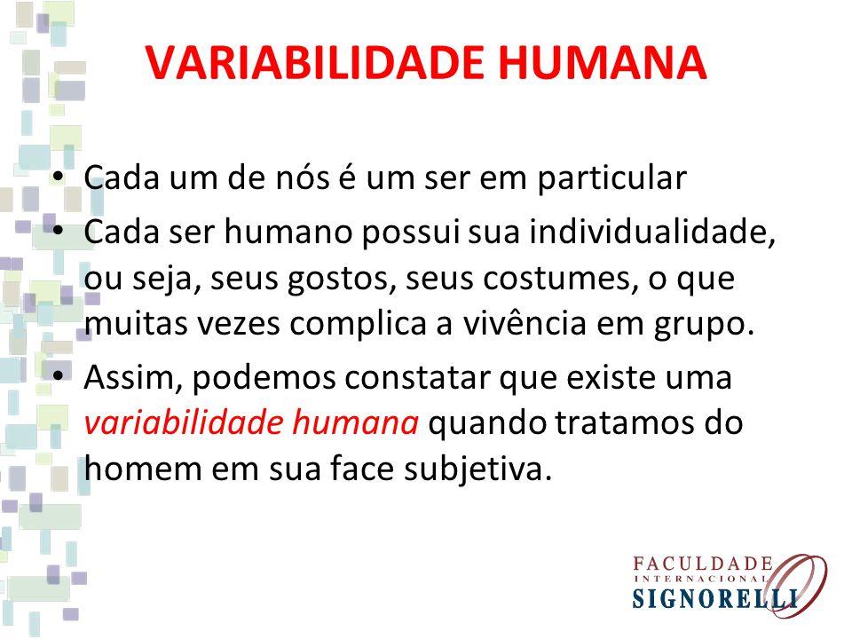 VARIABILIDADE HUMANA Cada um de nós é um ser em particular