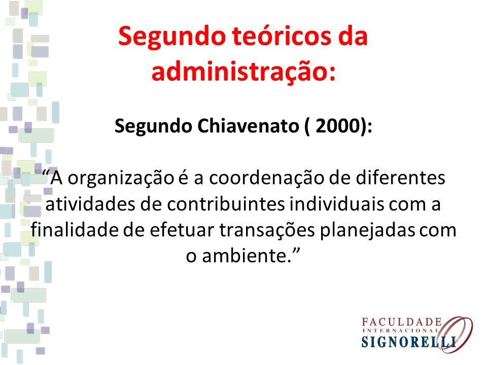 Segundo teóricos da administração: