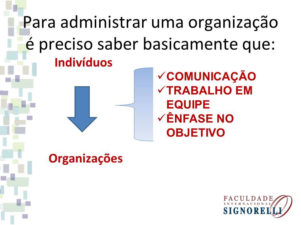 Para administrar uma organização é preciso saber basicamente que: