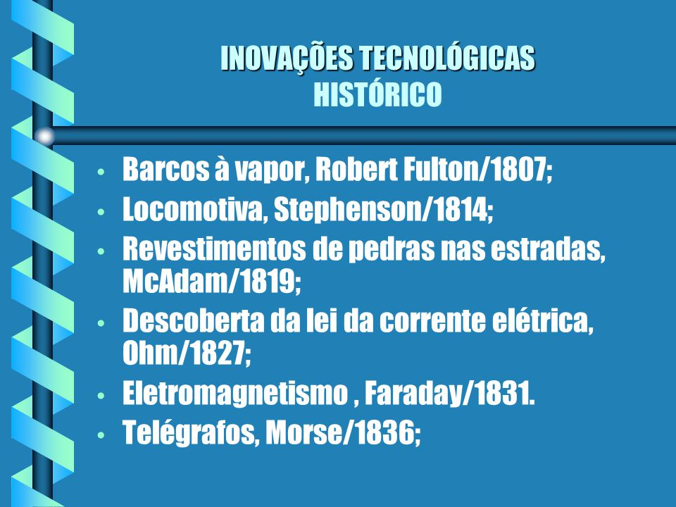 INOVAÇÕES TECNOLÓGICAS HISTÓRICO