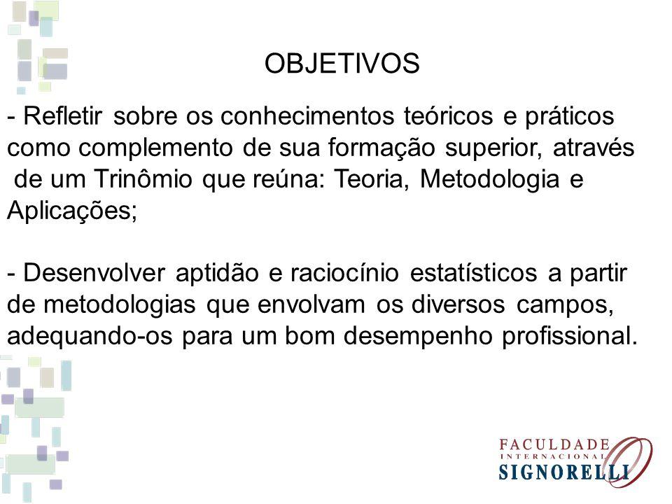 OBJETIVOS - Refletir sobre os conhecimentos teóricos e práticos