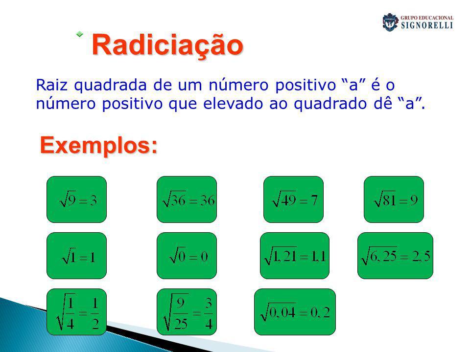 Radiciação Raiz quadrada de um número positivo a é o número positivo que elevado ao quadrado dê a .