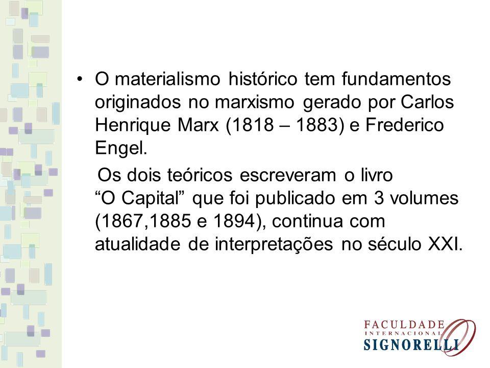 O materialismo histórico tem fundamentos originados no marxismo gerado por Carlos Henrique Marx (1818 – 1883) e Frederico Engel.