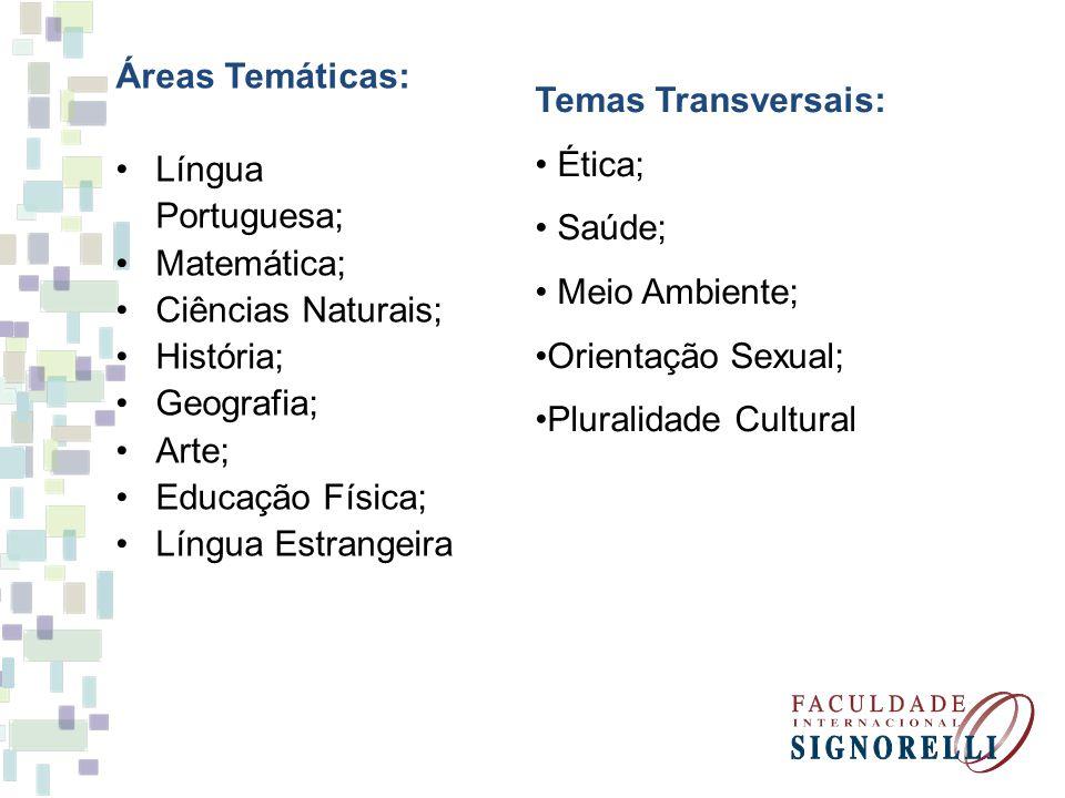 Áreas Temáticas: Língua Portuguesa; Matemática; Ciências Naturais; História; Geografia; Arte; Educação Física;