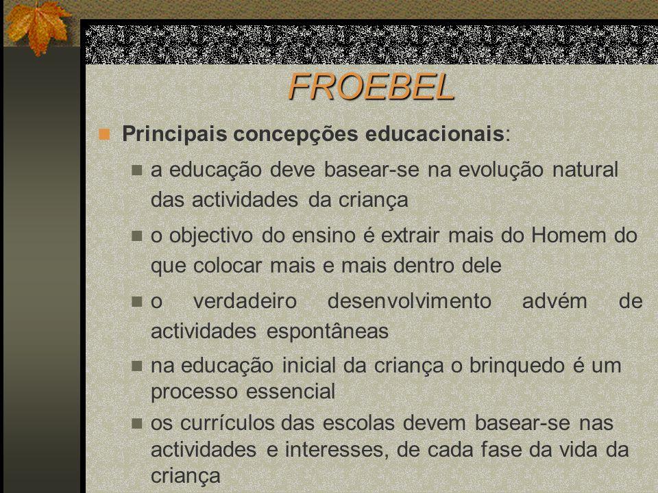 FROEBEL Principais concepções educacionais: