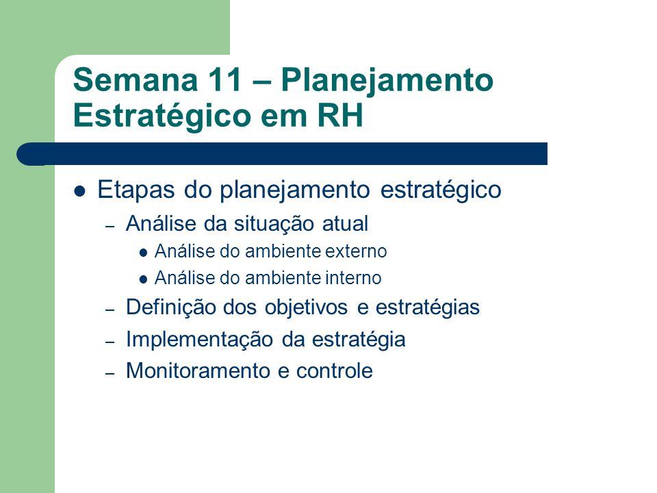 Semana 11 – Planejamento Estratégico em RH