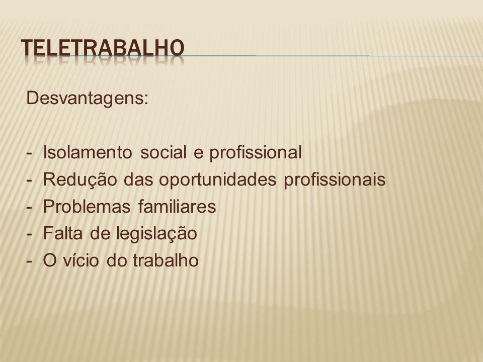 TELETRABALHO Desvantagens: - Isolamento social e profissional