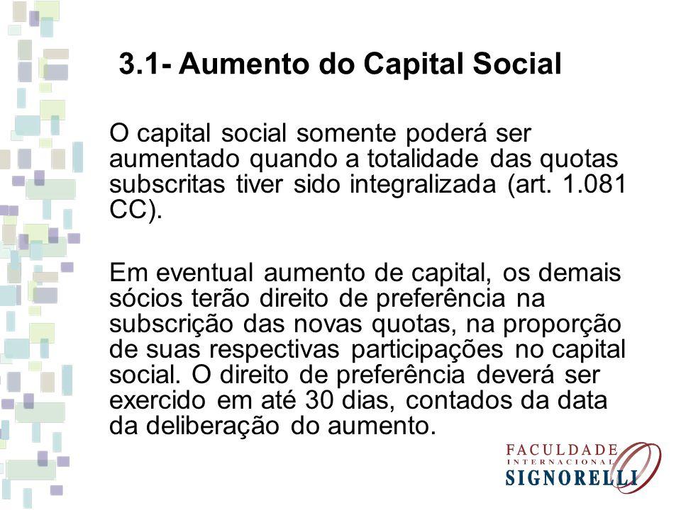3.1- Aumento do Capital Social