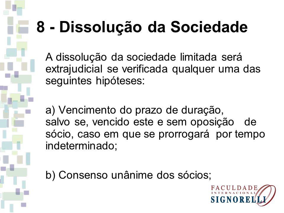 8 - Dissolução da Sociedade