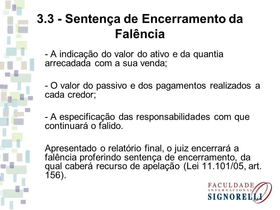 3.3 - Sentença de Encerramento da Falência
