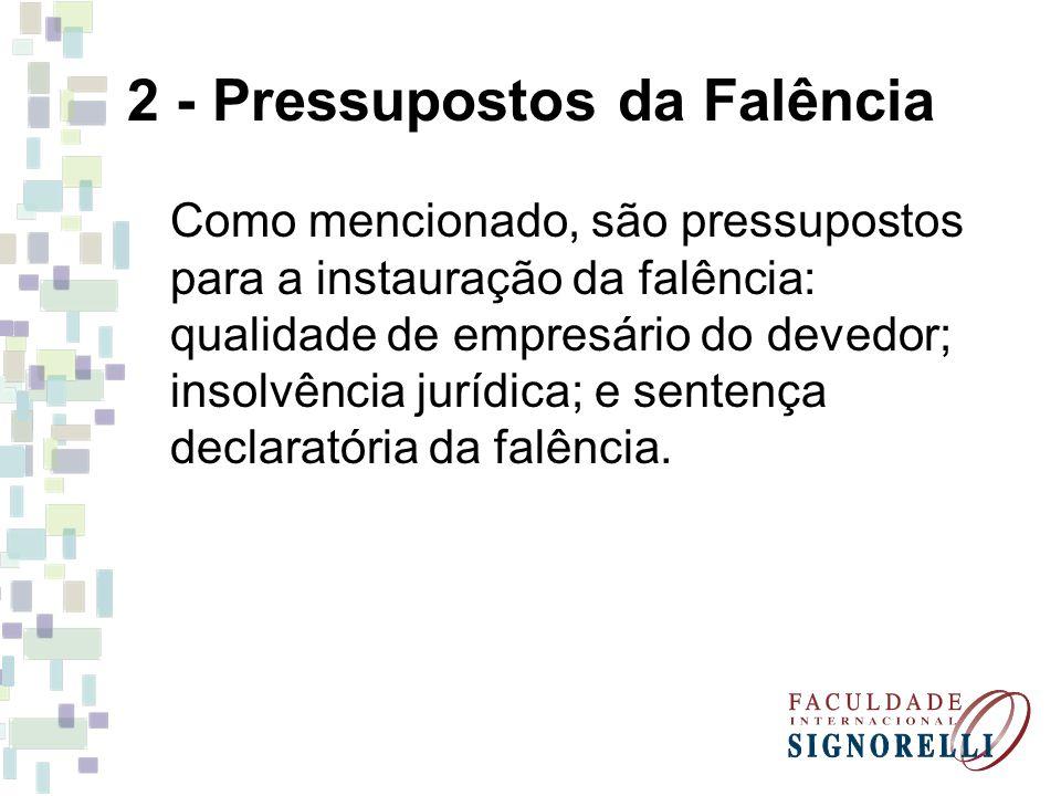 2 - Pressupostos da Falência
