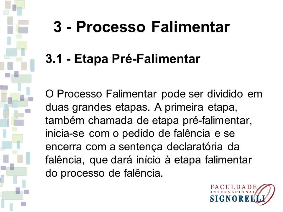 3 - Processo Falimentar 3.1 - Etapa Pré-Falimentar