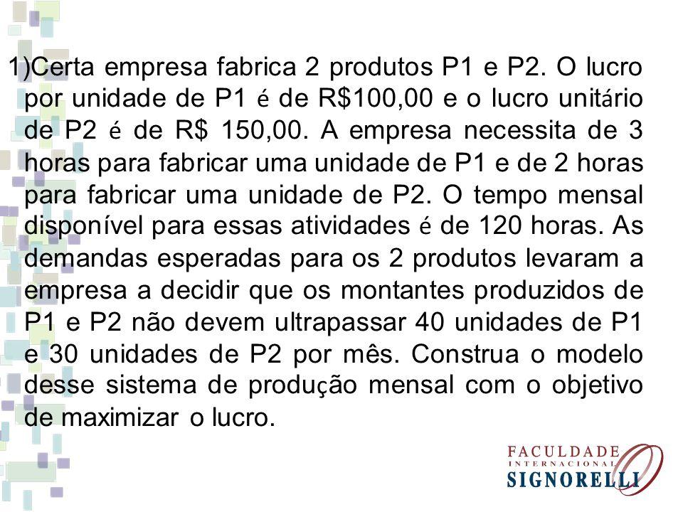 Certa empresa fabrica 2 produtos P1 e P2