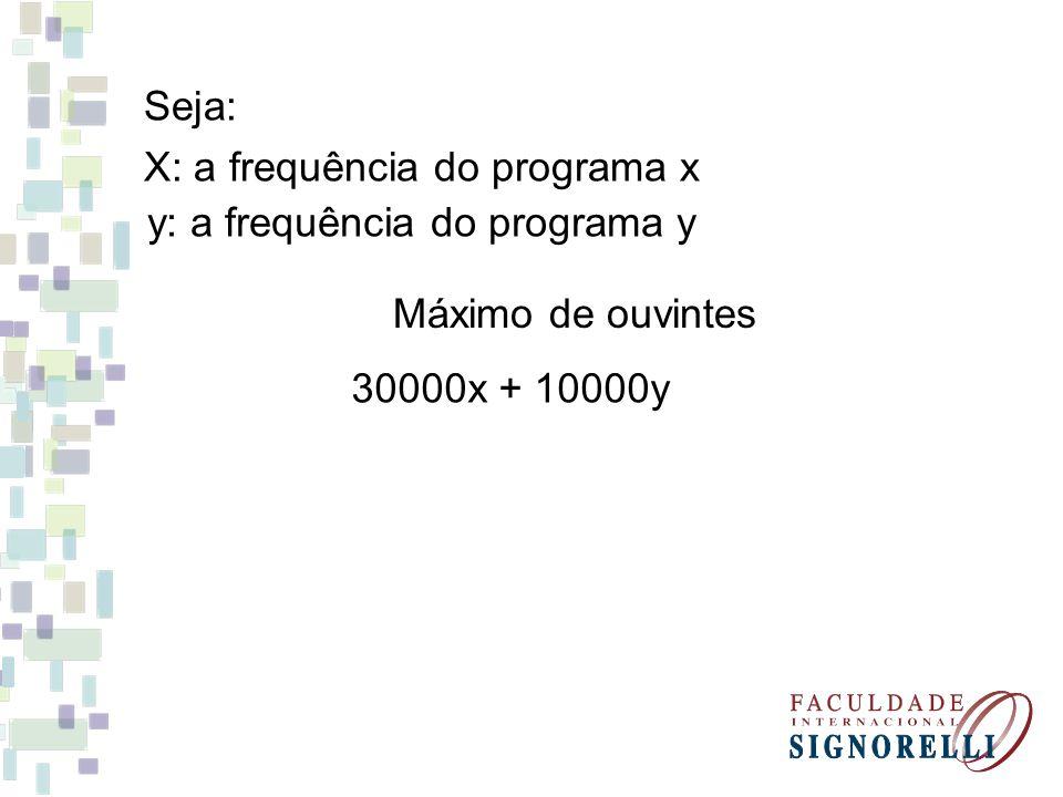Seja: X: a frequência do programa x. y: a frequência do programa y.