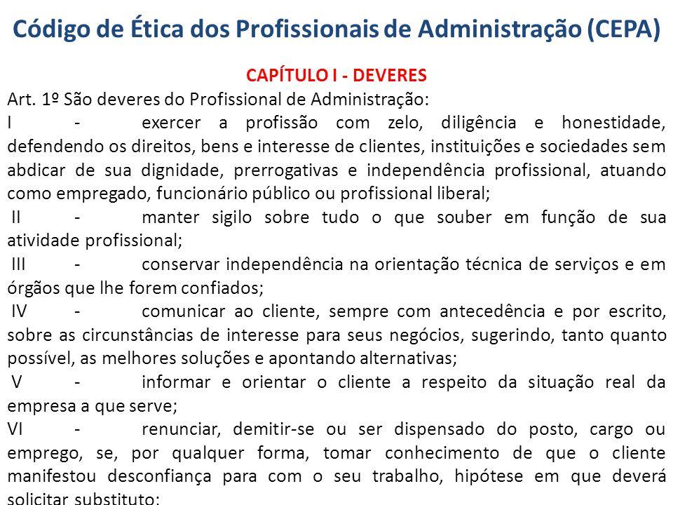 Código de Ética dos Profissionais de Administração (CEPA)