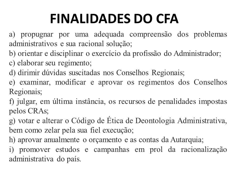 FINALIDADES DO CFA a) propugnar por uma adequada compreensão dos problemas administrativos e sua racional solução;