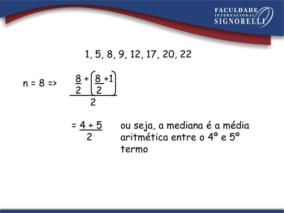 1, 5, 8, 9, 12, 17, 20, 22 8 + 8 +1. 2 2. 2. n = 8 => = 4 + 5. 2. ou seja, a mediana é a média.