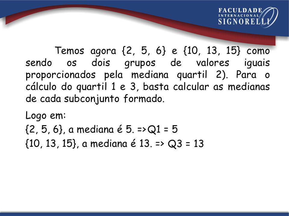Temos agora {2, 5, 6} e {10, 13, 15} como sendo os dois grupos de valores iguais proporcionados pela mediana quartil 2). Para o cálculo do quartil 1 e 3, basta calcular as medianas de cada subconjunto formado.