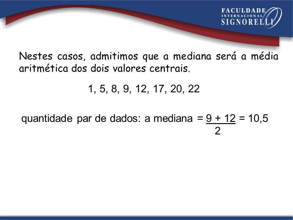 quantidade par de dados: a mediana = 9 + 12 = 10,5 2