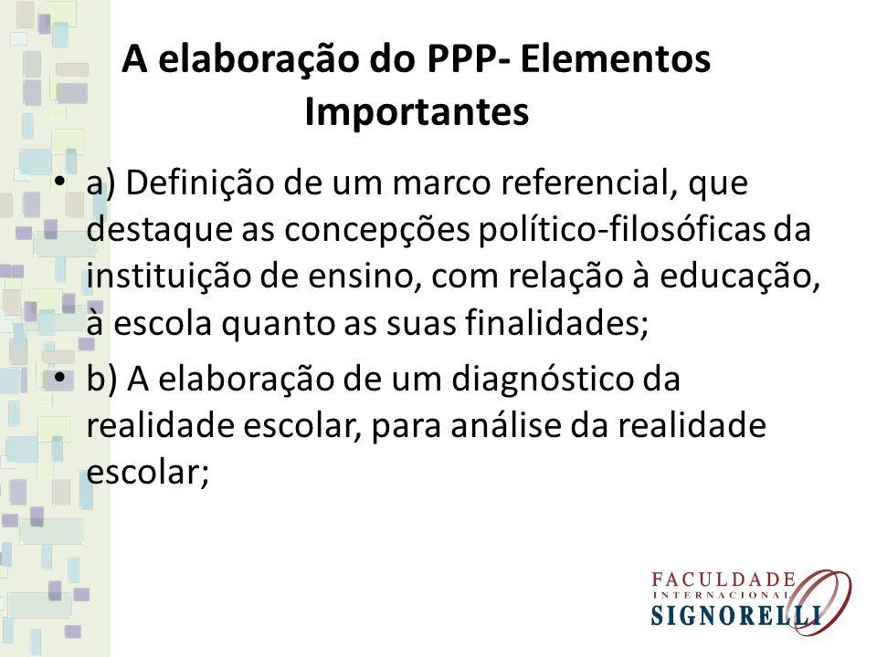 A elaboração do PPP- Elementos Importantes