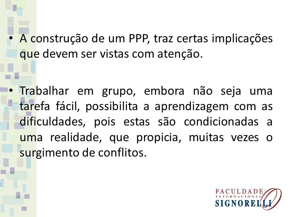 A construção de um PPP, traz certas implicações que devem ser vistas com atenção.