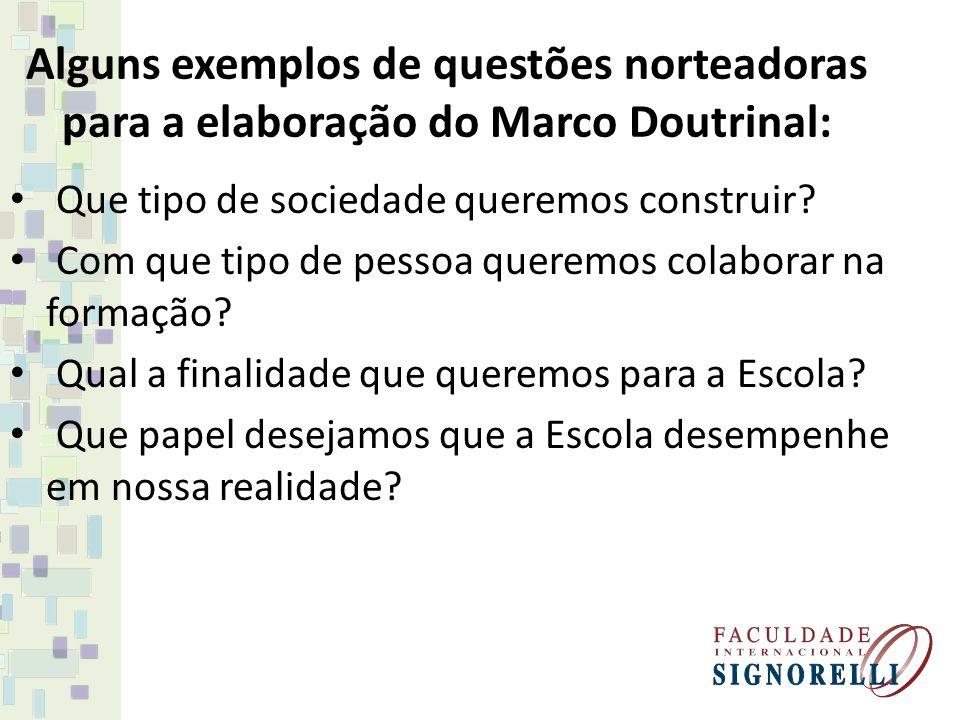 Alguns exemplos de questões norteadoras para a elaboração do Marco Doutrinal: